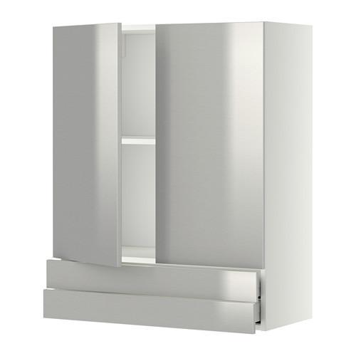 МЕТОД / МАКСИМЕРА Навесной шкаф/2дверцы/2ящика - 80x100 см, Гревста нержавеющ сталь, белый