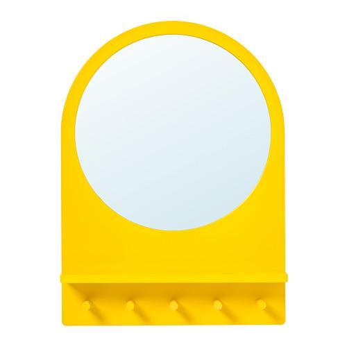 САЛТРЁД Зеркало с полкой и крючками - желтый