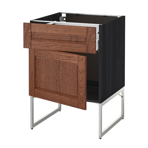 МЕТОД / МАКСИМЕРА Напольный шкаф с ящиком/дверью - 60x60x60 см, Филипстад коричневый, под дерево черный