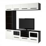 БЕСТО Шкаф для ТВ, комбин/стеклян дверцы - черно-коричневый/Марвикен белый прозрачное стекло, направляющие ящика, плавно закр