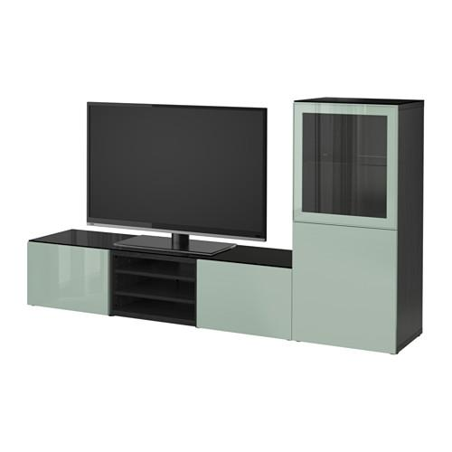 bessto kabinett f r tv kombiniert glast ren schwarz braun selsviken gl nzend graugr nes. Black Bedroom Furniture Sets. Home Design Ideas