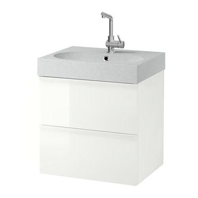 GODMORGON / Bråviken armoire coule avec tiroirs 2 - blanc brillant / gris clair