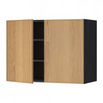 МЕТОД Навесной шкаф с полками/2дверцы - 80x60 см, Экестад дуб, под дерево черный