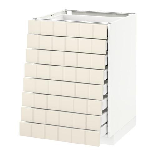 МЕТОД / МАКСИМЕРА Наполн шкаф 8 фронт/8 низк ящиков - белый, Хитарп белый с оттенком, 60x60 см