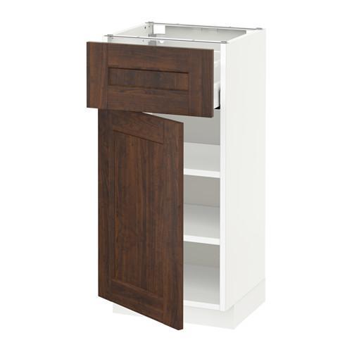 МЕТОД / МАКСИМЕРА Напольный шкаф с ящиком/дверью - 40x37 см, Эдсерум под дерево коричневый, белый
