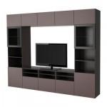 БЕСТО Шкаф для ТВ, комбин/стеклян дверцы - черно-коричневый/Вальвикен темно-коричневый, прозрачное стекло, направляющие ящика,нажимные