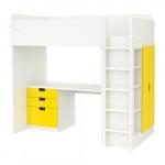 СТУВА Кровать-чердак/3 ящика/2 дверцы - белый/желтый