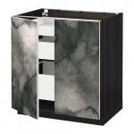 МЕТОД / МАКСИМЕРА Напольный шкаф с 2дверцами/3ящиками - под дерево черный, Кальвиа с печатным рисунком