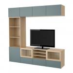 БЕСТО Шкаф для ТВ, комбин/стеклян дверцы - под беленый дуб/Вальвикен серо-бирюзовый, прозрачное стекло, направляющие ящика, плавно закр