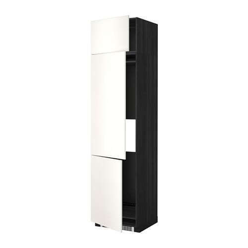 МЕТОД Выс шкаф для хол/мороз с 3 дверями - 60x60x240 см, Веддинге белый, под дерево черный