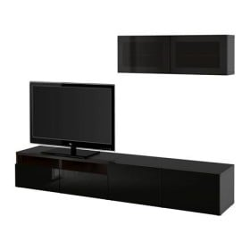 БЕСТО Шкаф для ТВ, комбин/стеклян дверцы - черно-коричневый/Сельсвикен глянцевый/черный дымчатое стекло, направляющие ящика, плавно закр