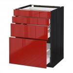 МЕТОД / МАКСИМЕРА Напольн шкаф 4 фронт панели/4 ящика - 60x60 см, Рингульт глянцевый красный, под дерево черный