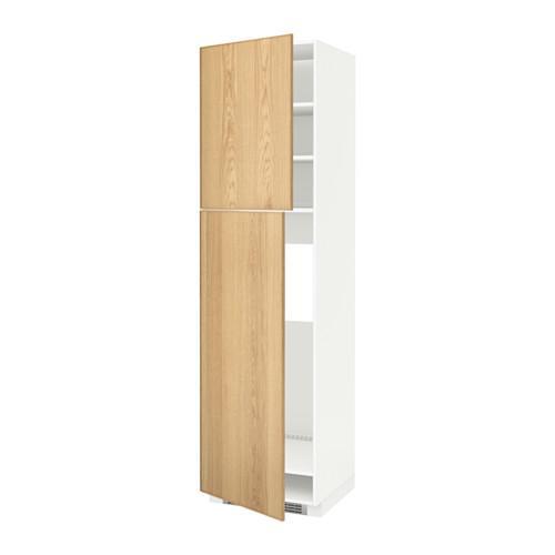МЕТОД Высокий шкаф д/холодильника/2дверцы - 60x60x220 см, Экестад дуб, белый