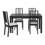 БЬЮРСТА/БЁРЬЕ Стол и 4 стула - , коричнево-чёрный/Гобо белый, 140 см