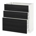 МЕТОД / МАКСИМЕРА Напольный шкаф с 3 ящиками - 80x37 см, Тингсрид под дерево черный, белый