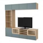БЕСТО Шкаф для ТВ, комбин/стеклян дверцы - под беленый дуб/Вальвикен серо-бирюзовый, прозрачное стекло, направляющие ящика,нажимные