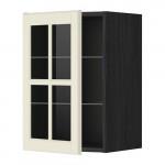 МЕТОД Навесной шкаф с полками/стекл дв - 40x60 см, Будбин белый с оттенком, под дерево черный