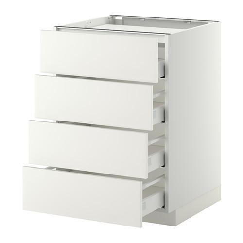 МЕТОД / МАКСИМЕРА Напольн шкаф/4фронт пнл/4ящика - 60x60 см, Хэггеби белый, белый