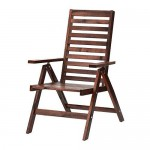ÄPPLARÖ garden chair / adjustable backrest folding brown stain