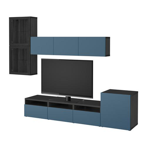 besto tv schrank kombiniert glast ren schwarz braun valviken dunkelblau transparentes. Black Bedroom Furniture Sets. Home Design Ideas