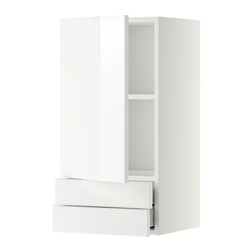 МЕТОД / МАКСИМЕРА Навесной шкаф с дверцей/2 ящика - 40x80 см, Рингульт глянцевый белый, белый