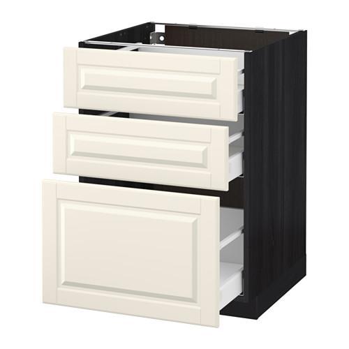 МЕТОД / МАКСИМЕРА Напольный шкаф с 3 ящиками - 60x60 см, Будбин белый с оттенком, под дерево черный