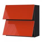 МЕТОД Навесной шкаф/2 дверцы, горизонтал - под дерево черный, Ерста глянцевый оранжевый, 80x80 см