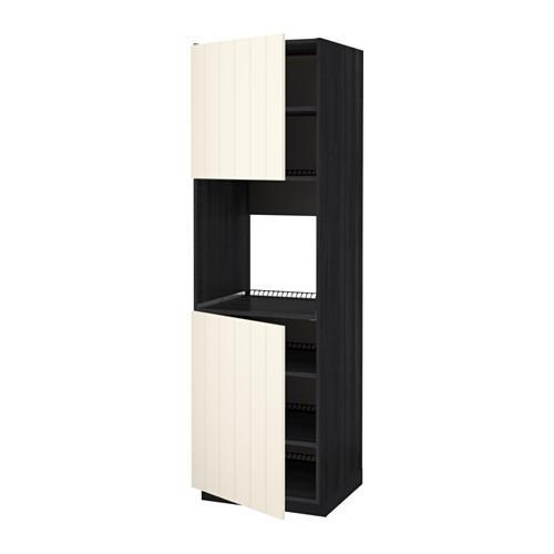 МЕТОД Высок шкаф д/духовки/2дверцы/полки - 60x60x200 см, Хитарп белый с оттенком, под дерево черный