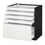 МЕТОД / МАКСИМЕРА Напольный шкаф с 5 ящиками - 80x60 см, Нодста белый/алюминий, под дерево черный