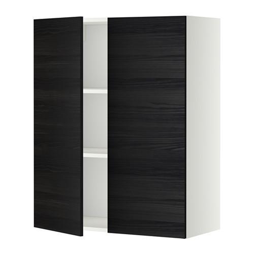 МЕТОД Навесной шкаф с полками/2дверцы - 80x100 см, Тингсрид под дерево черный, белый
