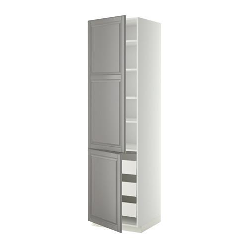 МЕТОД / МАКСИМЕРА Высокий шкаф+полки/3 ящика/2 дверцы - 60x60x220 см, Будбин серый, белый