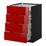 МЕТОД / МАКСИМЕРА Нплн шк 4фрнт/2нзк/3срд ящ - 60x60 см, Рингульт глянцевый красный, под дерево черный