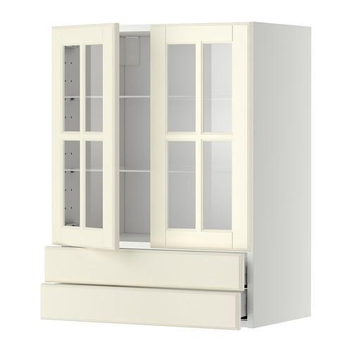 МЕТОД / МАКСИМЕРА Навесной шкаф/2 стек дв/2 ящика - 60x80 см, Будбин белый с оттенком, белый