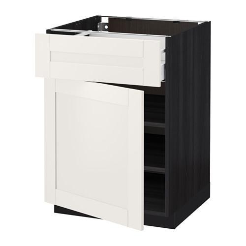 МЕТОД / МАКСИМЕРА Напольный шкаф с ящиком/дверью - 60x60 см, Сэведаль белый, под дерево черный