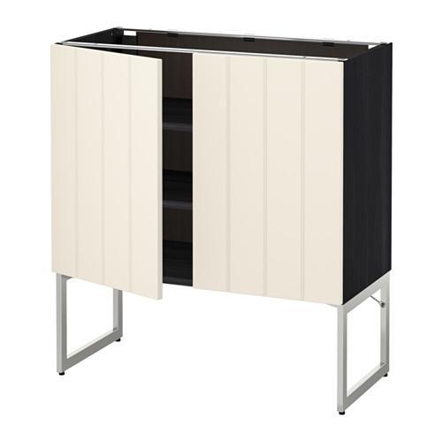 МЕТОД Напол шкаф с полками/2двери - 80x37x60 см, Хитарп белый с оттенком, под дерево черный