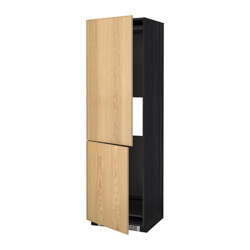 МЕТОД Выс шкаф д/холодильн или морозильн - 60x60x200 см, Экестад дуб, под дерево черный