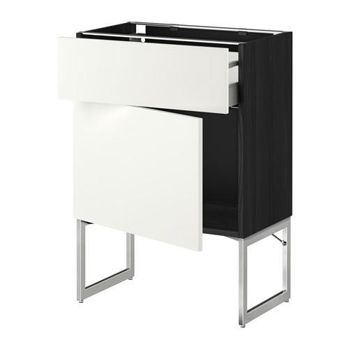 МЕТОД / МАКСИМЕРА Напольный шкаф с ящиком/дверью - 60x37x60 см, Хэггеби белый, под дерево черный