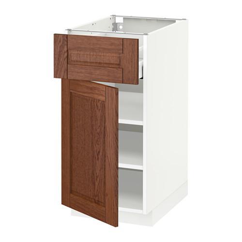 МЕТОД / МАКСИМЕРА Напольный шкаф с ящиком/дверью - 40x60 см, Филипстад коричневый, белый
