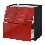 MÉTODO / gabinete FORVARA Base con cajones 5 - 80x60 cm Ringult brillante rojo, madera negro