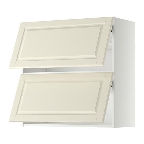 МЕТОД Навесной шкаф/2 дверцы, горизонтал - 80x80 см, Будбин белый с оттенком, белый