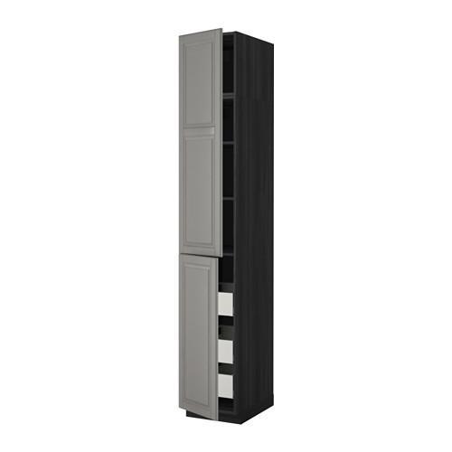 МЕТОД / МАКСИМЕРА Высокий шкаф+полки/3 ящика/2 дверцы - 40x60x240 см, Будбин серый, под дерево черный