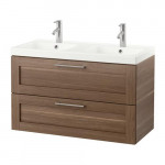 GODMORGON / ODENSVIK Sink case with 2 box - walnut