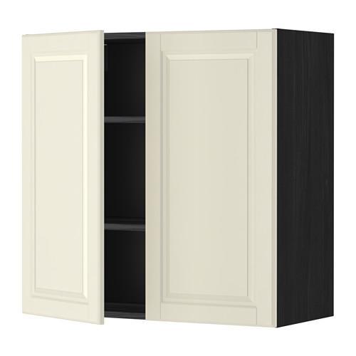 МЕТОД Навесной шкаф с полками/2дверцы - 80x80 см, Будбин белый с оттенком, под дерево черный