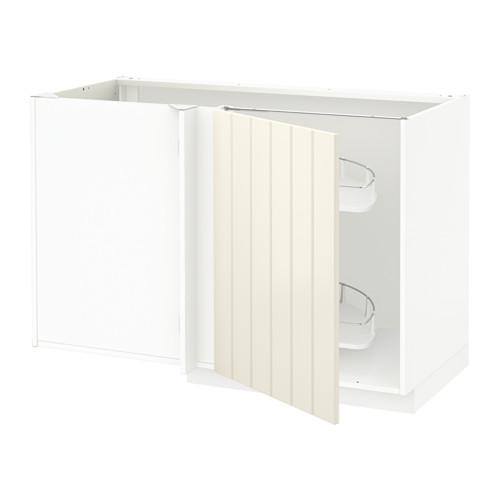 МЕТОД Угловой напол шкаф с выдвижн секц - Хитарп белый с оттенком, белый