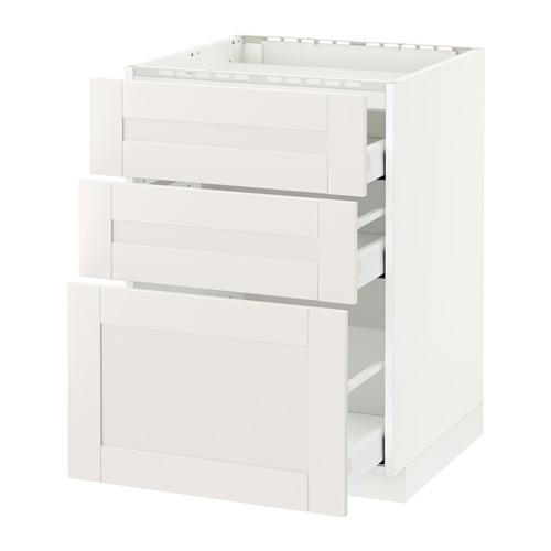 МЕТОД / МАКСИМЕРА Напольн шкаф/3фронт пнл/3ящика - 60x60 см, Сэведаль белый, белый