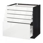МЕТОД / МАКСИМЕРА Напольный шкаф с 5 ящиками - 80x60 см, Рингульт глянцевый белый, под дерево черный