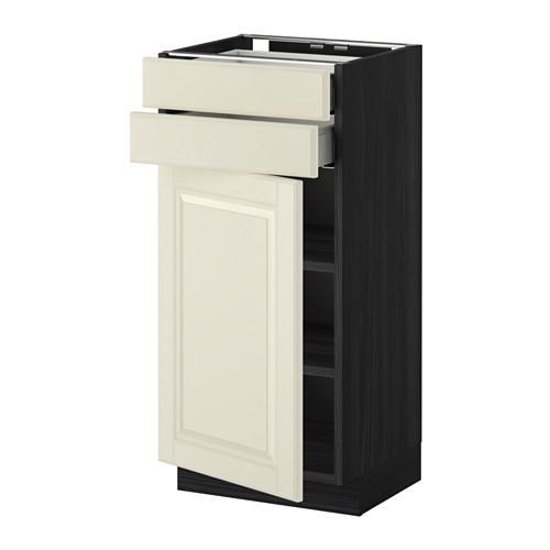 МЕТОД / МАКСИМЕРА Напольный шкаф с дверцей/2 ящиками - 40x37 см, Будбин белый с оттенком, под дерево черный