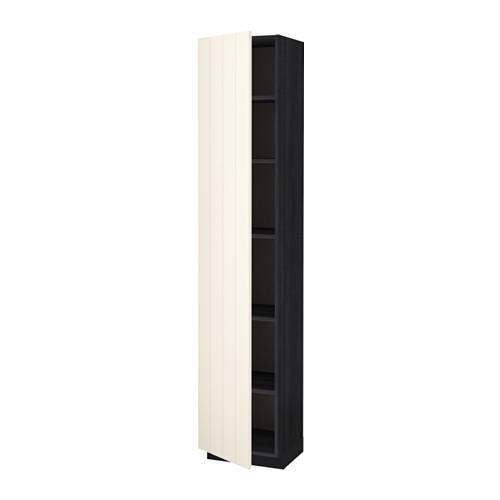 МЕТОД Высок шкаф с полками - 40x37x200 см, Хитарп белый с оттенком, под дерево черный