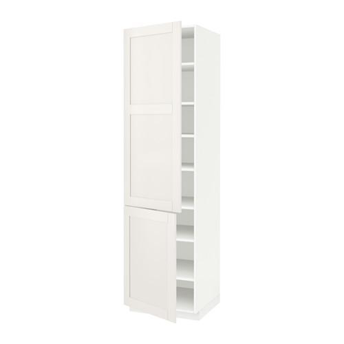 МЕТОД Высокий шкаф с полками/2 дверцы - 60x60x220 см, Сэведаль белый, белый