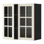 МЕТОД Навесной шкаф с полками/2 стекл дв - 80x80 см, Будбин белый с оттенком, под дерево черный